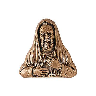 Placa Padre Pío de bronce 34 cm para EXTERIOR 3