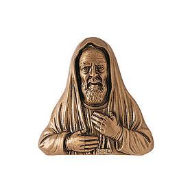Padre Pio cemetery plaque, in bronze 34 cm for OUTDOORS s1