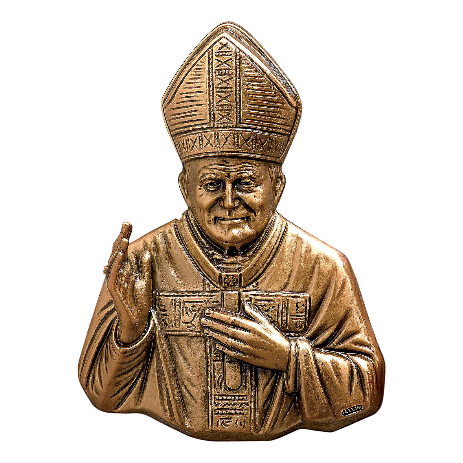 Targa busto Papa Wojtyla bronzo 27 cm per ESTERNO 3