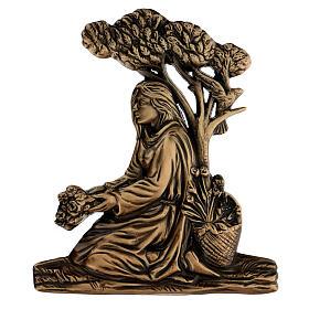 Placa chica con flores bronce 15 cm para EXTERIOR s1