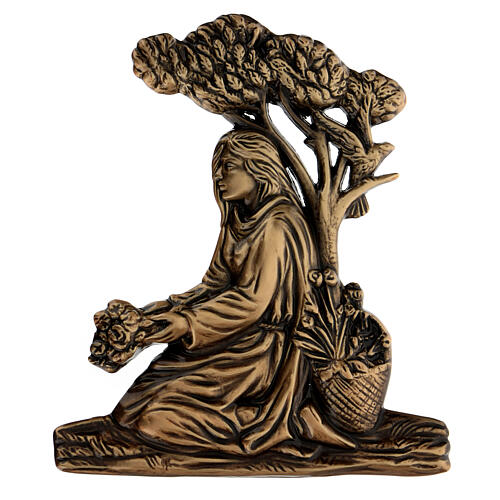 Placa chica con flores bronce 15 cm para EXTERIOR 1