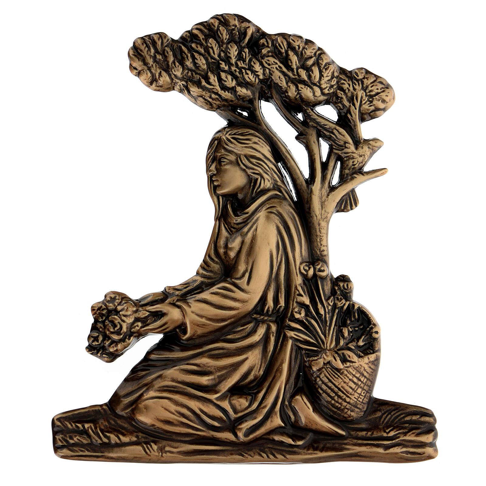 Applicazione ragazza gettafiori bronzo 15 cm per ESTERNO 3