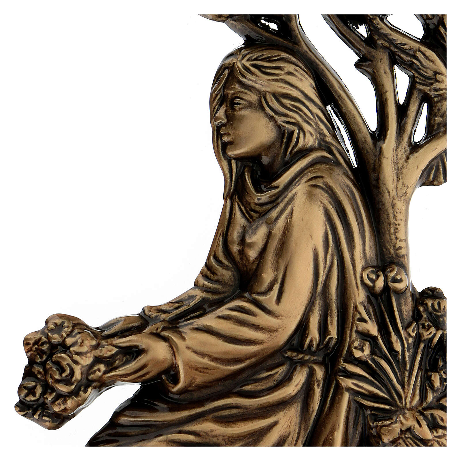 Bronze grave decoration girl with bouquet, 15 cm for OUTDOORS 3