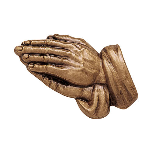 Bronze grave decoration hands in prayer, self-adhesive 10 cm for OUTDOORS 1