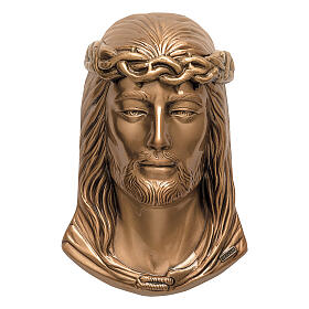 Bronze grave plaque Jesus with crown of thorns 24 cm for OUTDORS s1
