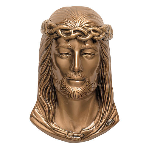 Bronze grave plaque Jesus with crown of thorns 24 cm for OUTDORS 1