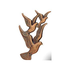 Targa volo colombe bronzo 17 cm per ESTERNO s1