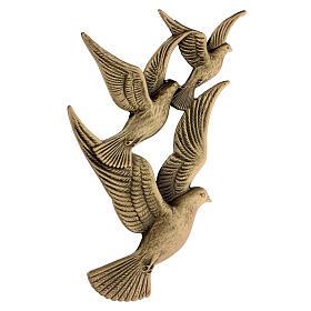 Targa volo colombe bronzo 17 cm per ESTERNO s3