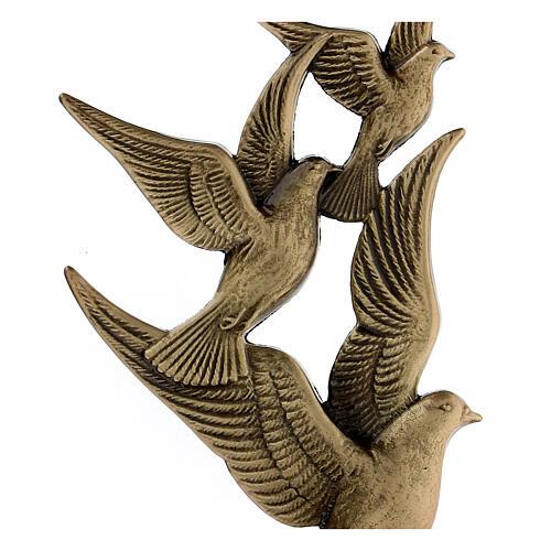 Targa volo colombe bronzo 17 cm per ESTERNO 2
