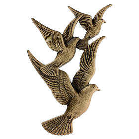 Bronze grave decoration flying doves, 17 cm for OUTDOORS s1
