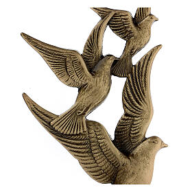 Bronze grave decoration flying doves, 17 cm for OUTDOORS s2