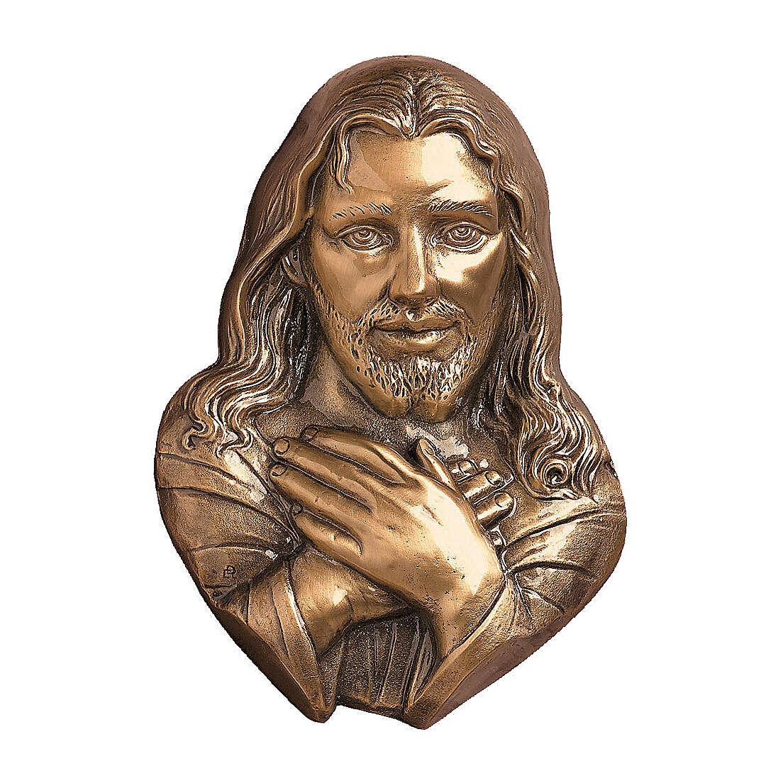 Targa funeraria bronzo Gesù misericordioso per ESTERNO h 21 cm 3