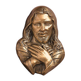 Bronze grave decoration Merciful Jesus, for OUTDOORS h. 21 cm s1