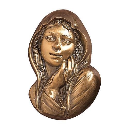 Targa funeraria bronzo Madonna misericordiosa per ESTERNO 21 cm 1