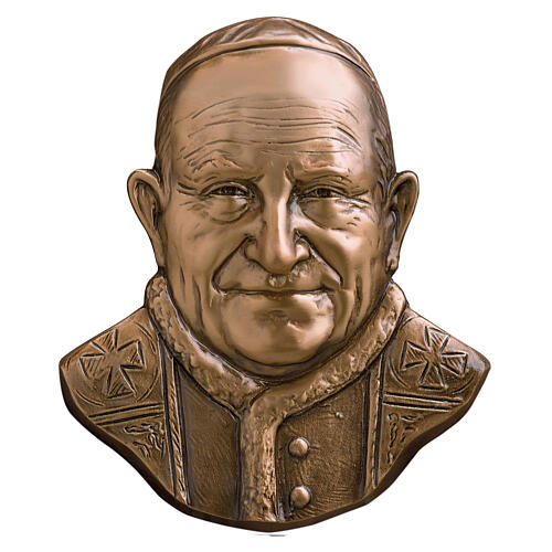 Bronze funeral plaque of Pope John XXIII, 21 cm for OUTDOORS 1