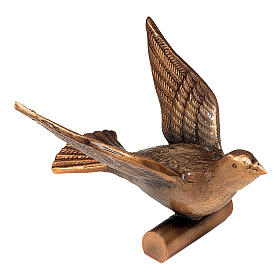 Bronze grave ornament, dove flying 14 cm for OUTDOORS s1