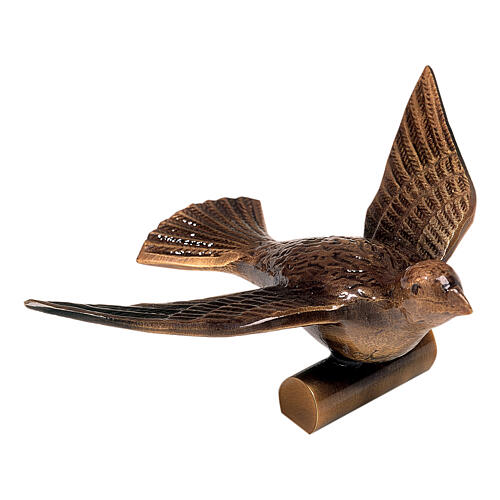 Bronze grave ornament, dove of peace 10 cm for OUTDOORS 1