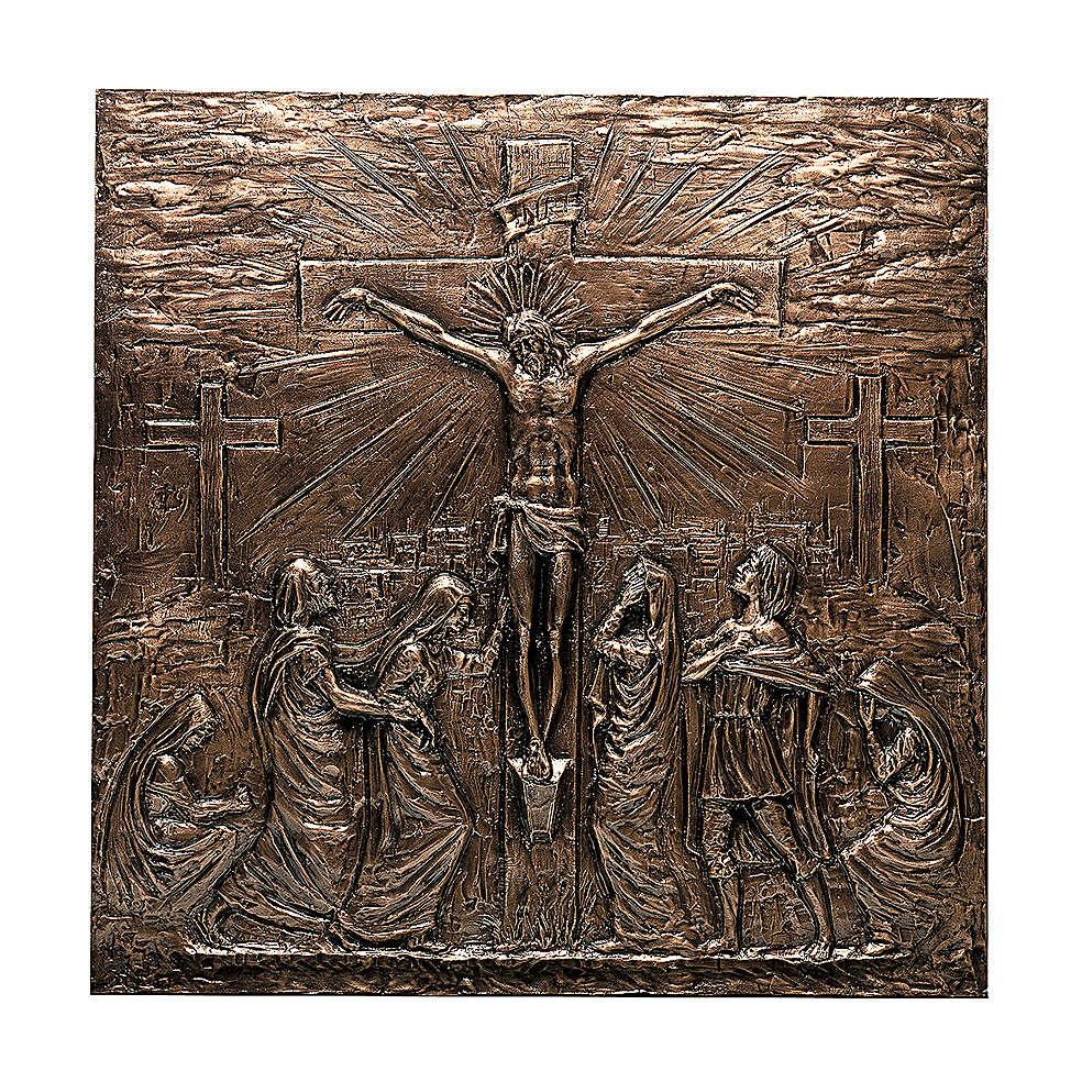 Placa bronce Crucifixión Jesús 110 cm para EXTERIOR 3