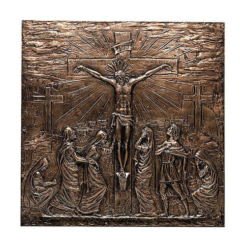 Placa bronce Crucifixión Jesús 110 cm para EXTERIOR 1