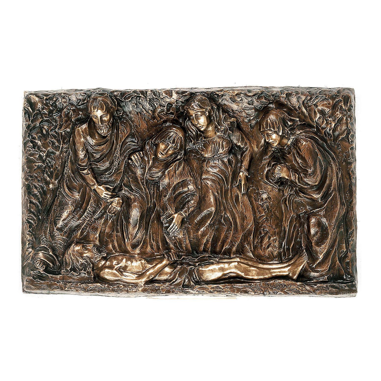 Placa bronce descendimiento cuerpo Cristo 45 cm para EXTERIOR 3