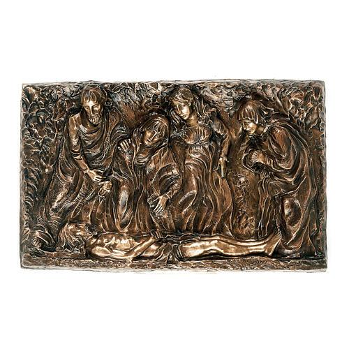 Placa bronce descendimiento cuerpo Cristo 45 cm para EXTERIOR 1
