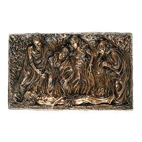 Targa bronzo deposizione corpo Cristo 45 cm per ESTERNO s1