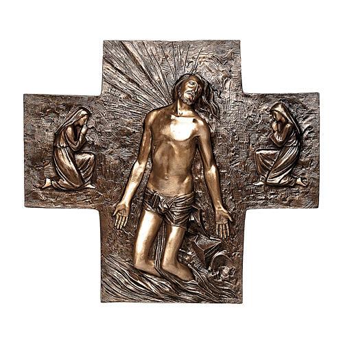 Placa bronce resurrección Jesús Cristo 77 cm para EXTERIOR 1