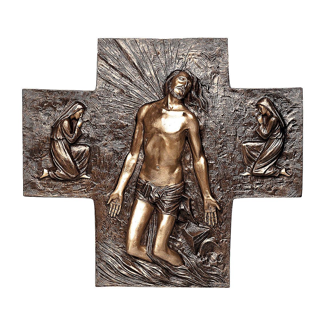 Plaque bronze Résurrection Jésus-Christ 77 cm pour EXTÉRIEUR 3
