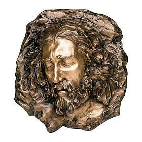 Bronze plaque showing grieving Christ 40 cm for EXTERNAL use s1