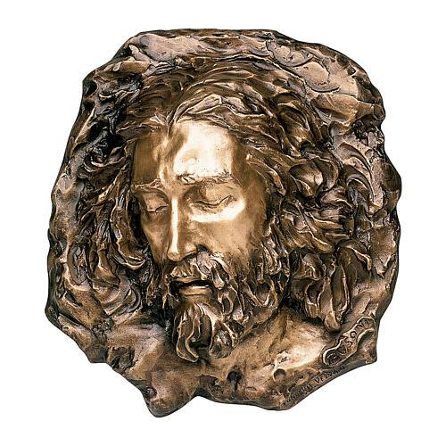 Bronze plaque showing grieving Christ 40 cm for EXTERNAL use 1
