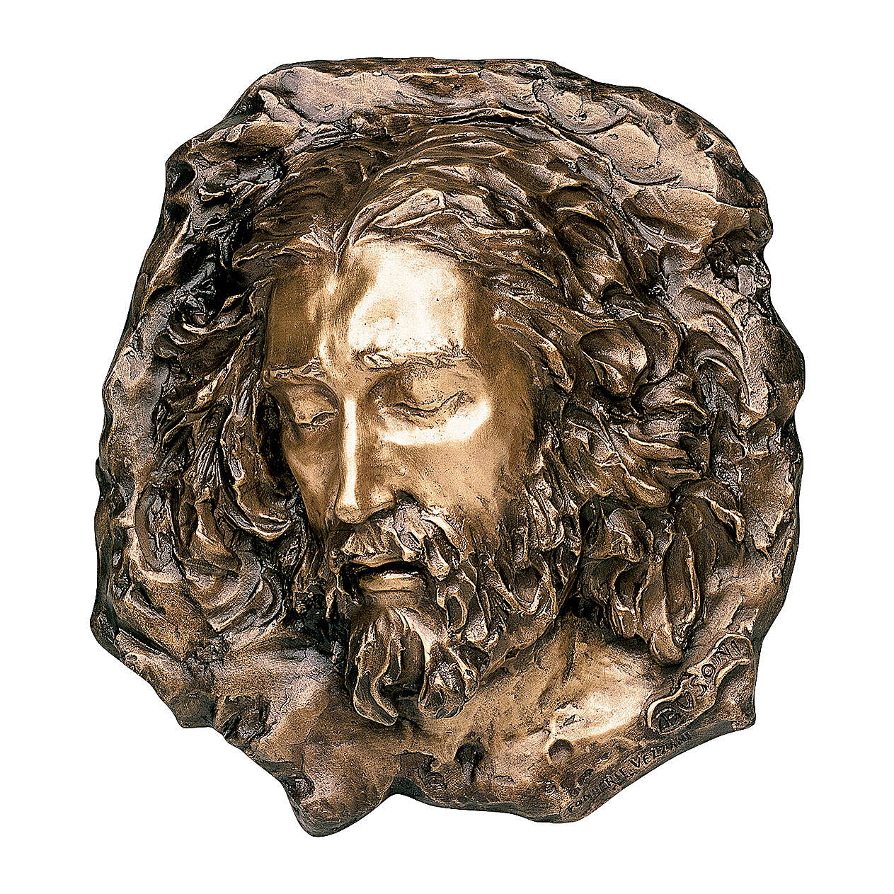 Placa bronce Cristo doloroso 40 cm para EXTERIOR 3