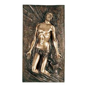 Bronze plaque showing resurrecting Christ 80 cm for EXTERNAL use s1