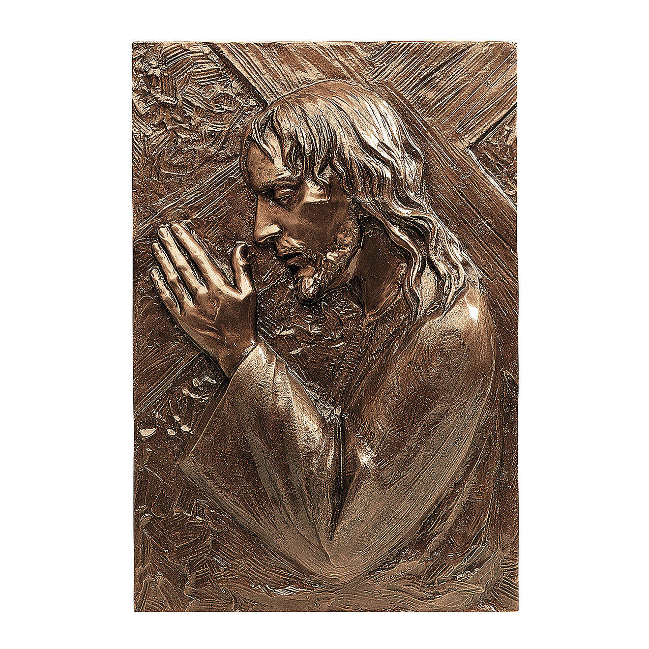 Bronze plaque showing Christ bearing the cross 55 cm for EXTERNAL use 3