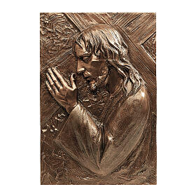 Bronze plaque showing Christ bearing the cross 55 cm for EXTERNAL use s1