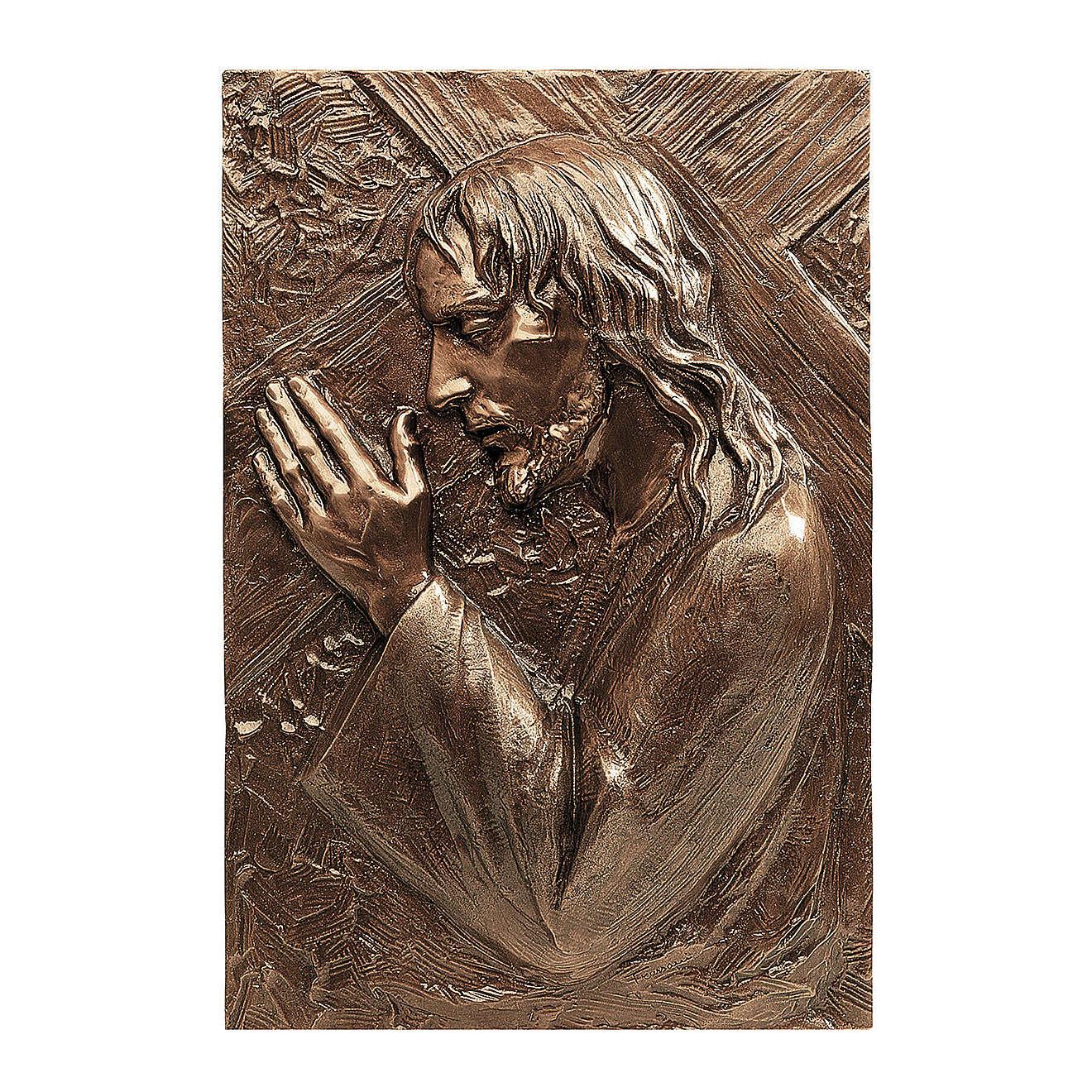 Placa bronce Jesús que lleva la cruz 55 cm para EXTERIOR 3