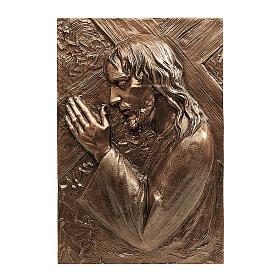 Placa bronce Jesús que lleva la cruz 55 cm para EXTERIOR s1