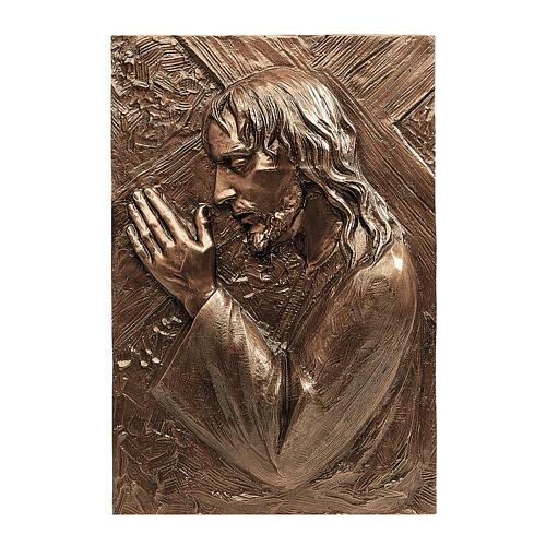 Placa bronce Jesús que lleva la cruz 55 cm para EXTERIOR 1