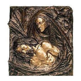 Bronze plaque showing the Pietà 45 cm for EXTERNAL use s1