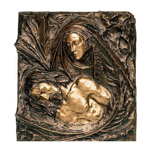 Bronze plaque showing the Pietà 45 cm for EXTERNAL use 1