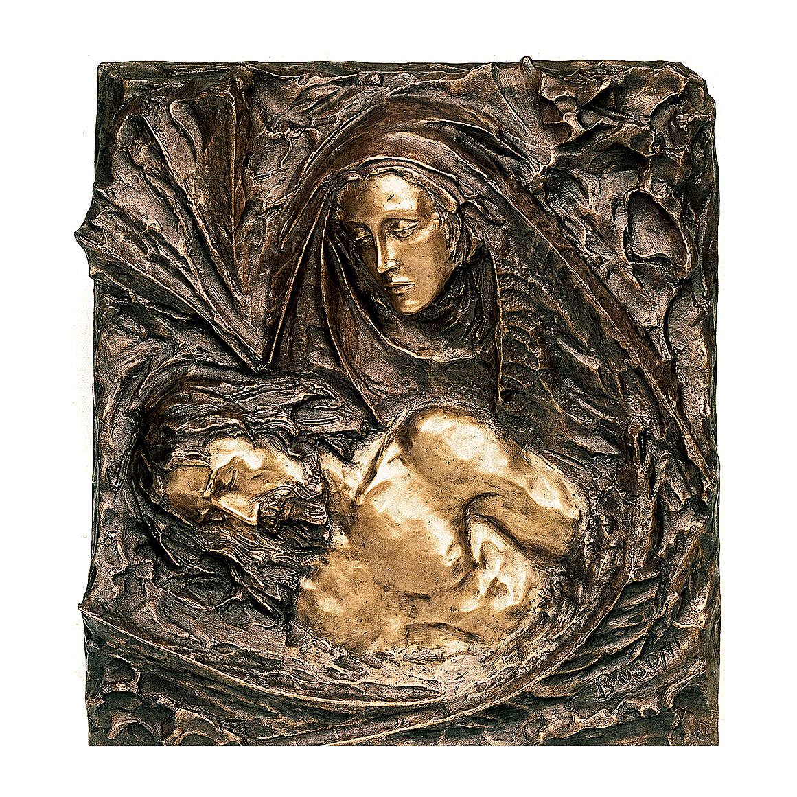 Targa bronzo particolare Pietà 45 cm per ESTERNO 3