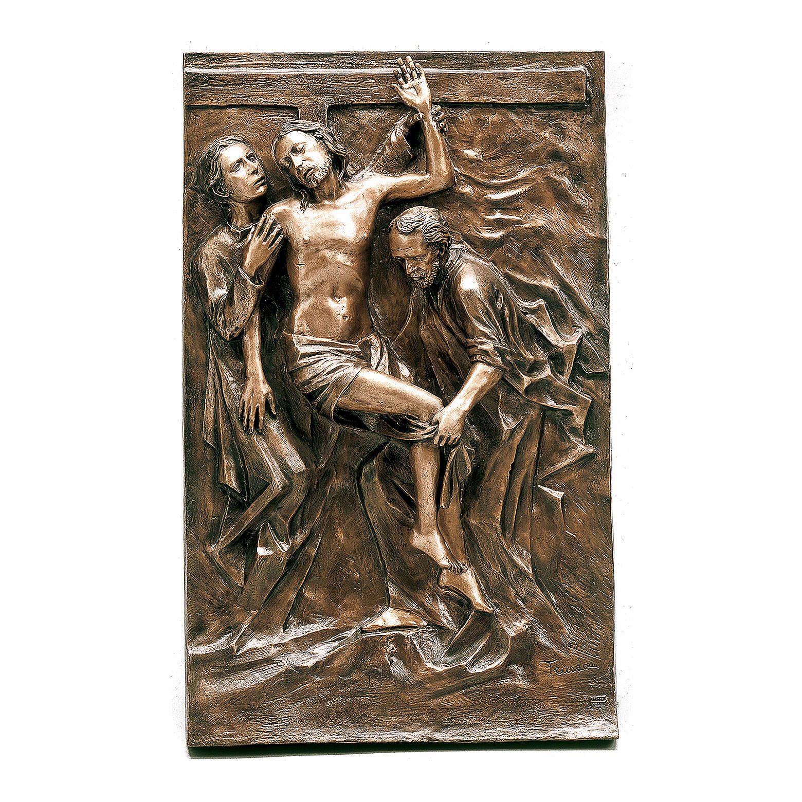 Bronze plaque showing the deposition of Christ 100 cm for EXTERNAL use 3