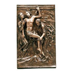 Targa deposizione Gesù bronzo 100 cm per ESTERNO s1
