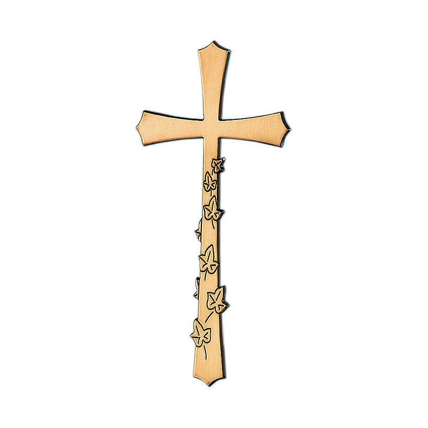 Croce bronzo da lapide con foglie incise 10 cm per ESTERNO 3