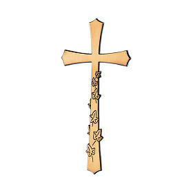 Bronze funeral cross with engraved leaves, 10 cm for OUTDOORS s1