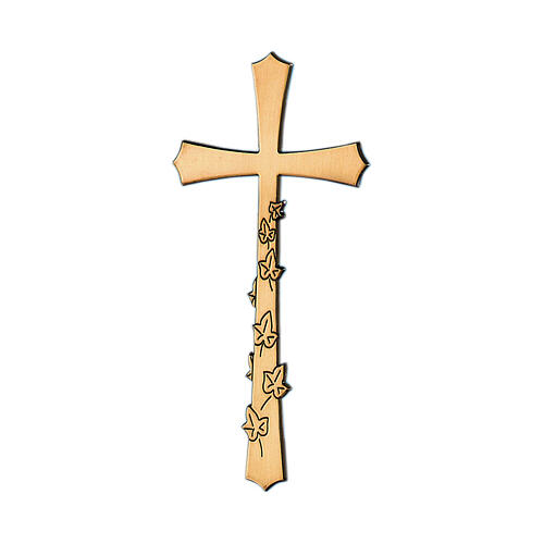 Bronze funeral cross with engraved leaves, 10 cm for OUTDOORS 1
