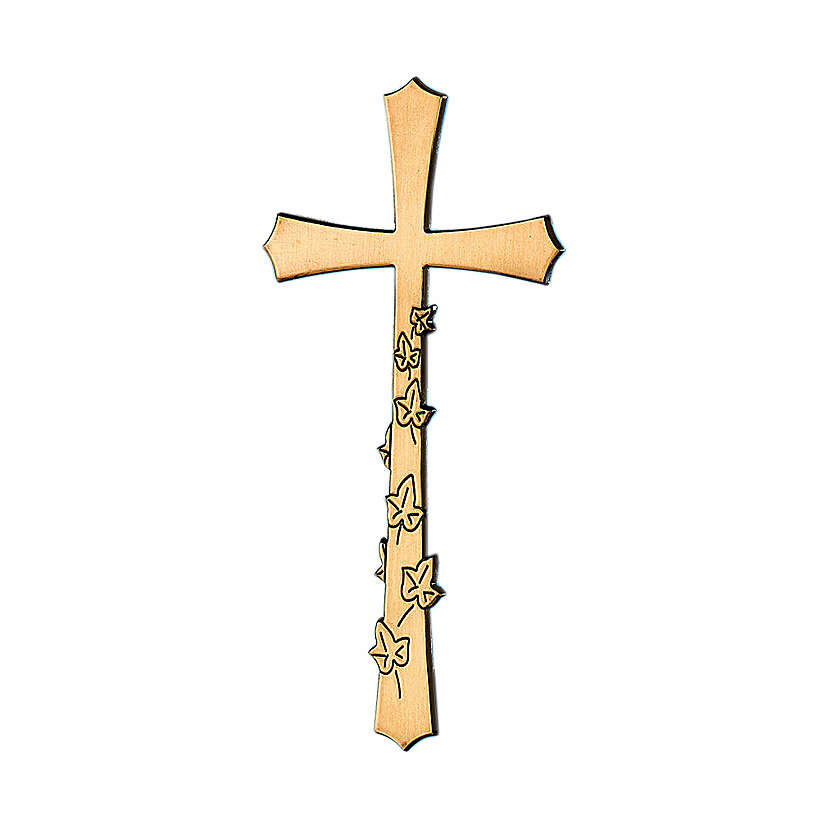 Cross in glossy bronze with engraved leaves 30 cm for OUTSIDE USE 3