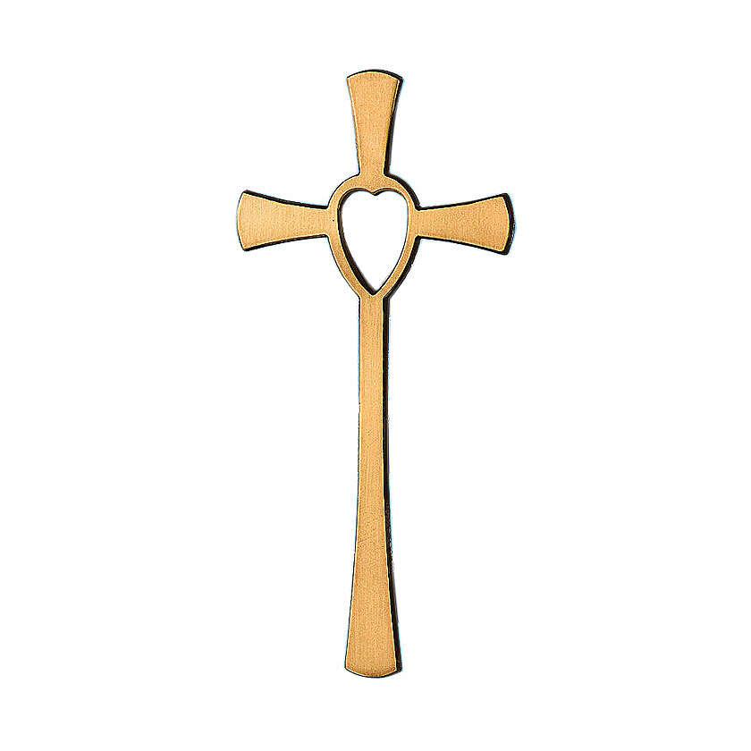 Cruz bronce corazón 10 cm para EXTERIOR 3