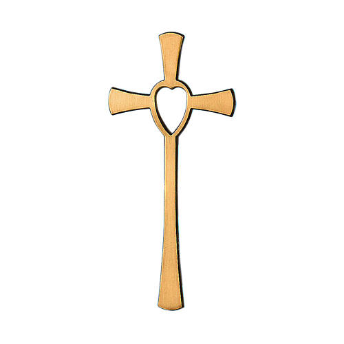 Bronze cross with heart cutout 8 inc for OUTDOOR USE 1