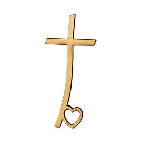 Cruz bronce lúcido con corazón en la base 10 cm para EXTERIOR s1