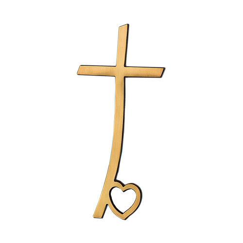 Cruz bronce lúcido con corazón en la base 10 cm para EXTERIOR 1